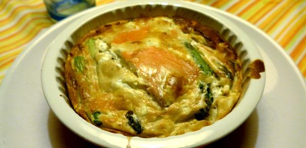 Clafoutis salato asparagi e salmone affumicato alla birra
