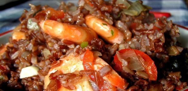 Riso rosso thai gamberi e peperone