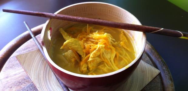 Thai chicken noodles soup