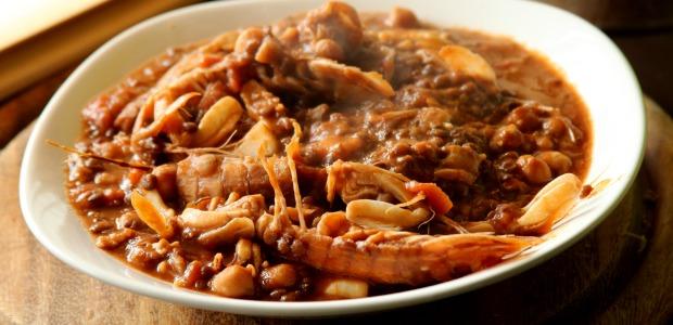 Zuppetta cremosa di pesce, lenticchie e ceci